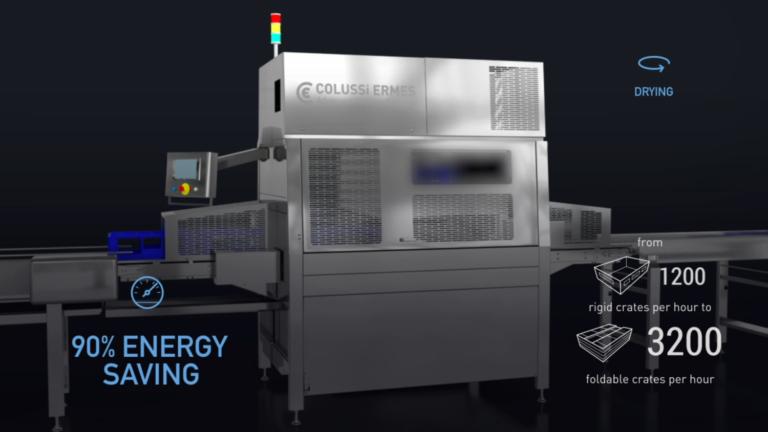 Les centrifugeuses Colussi Ermes garantissent jusqu'à 6400 caisses/heure et un séchage rapide et parfait
